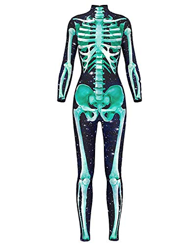 Meеt U Women 3D Style Halloween Cosplay Costumes Jumpsuit Bodysuit (Green Skeleton Jumpsuit,Medium)