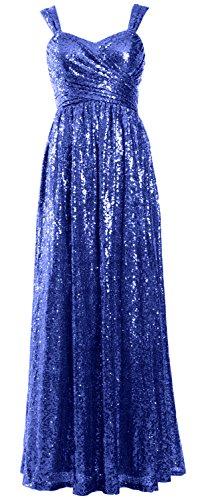 Sequin Elegant Blue Wedding Party Long Dress Royal Formal Women Bridesmaid Gown MACloth 5PxHqUEwc