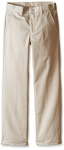 Nautica Slim Boys' Uniform Flat Front Pant, Khaki, Medium/6- Slim ()