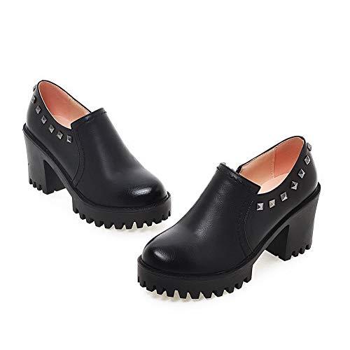 Sólido Gmxdb008323 Agoolar Negro Zapatos Cremallera Puntera Alto Tacón Tacón De Mujeres Redonda CqBnqwvfXp