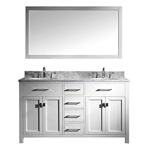 (Virtu USA Caroline 60 inch Double Sink Bathroom Vanity Set in White w/ Round Undermount Sink, Italian Carrara White Marble Countertop, No Faucet, 1 Mirror -)
