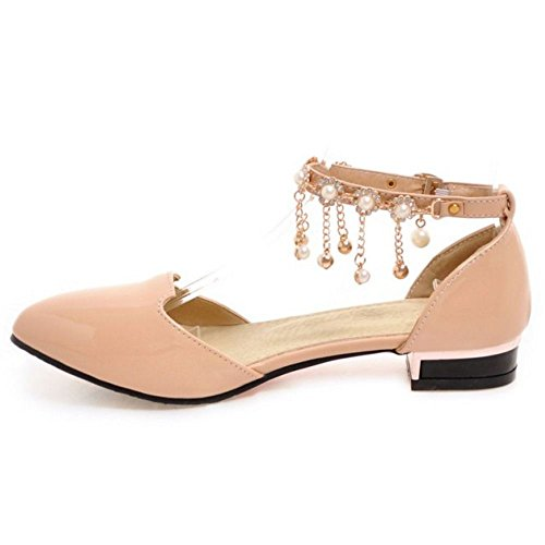 TAOFFEN Women Casual Ankle Strap Summer Shoes Buckle Pearl Flat Sandals Pink QCzyNZTrHV
