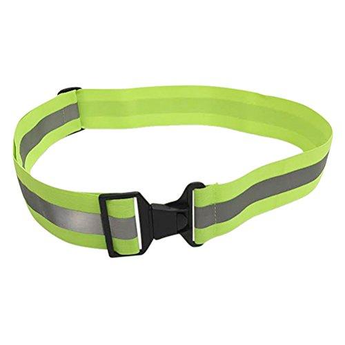 VORCOOL Reflektierende Gürtel Glow Laufband Einstellbare High Visibility Sicherheitsausrüstung für Jogging Reiten Gehen und Radfahren (Fluorescent Green)