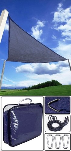 11.5′ Triangle Outdoor Sun Sail Shade Shading Blue, Outdoor Stuffs