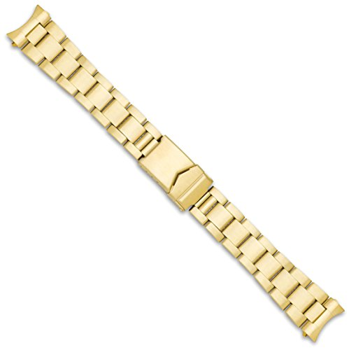 Oyster Style Link Metal Watch Band - Gold - 20mm (Band Oyster Gold Watch)