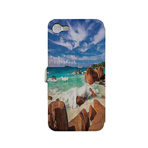 Phone case Compatible with iPhone 7 iPhone 8 3D Printed PU Skin Cover Protection Sleeve,Wave Seychelles Island Paradise Beach Scenery,Premium PU Leather Magnetic Flip Folio Protective iPhone case