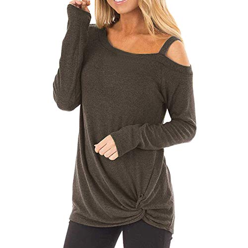 TWGONE Cold Shoulder Tops For Women Long Sleeve Knot Side Casual Soft O Neck Twist Blouse T-Shirt(Large,Coffee-2) -
