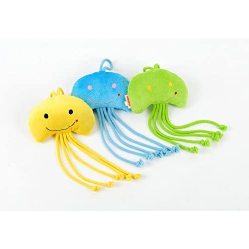 Stock Show 3Pcs Pet Cat Catnip Toys, Plush Short Plush Jellyfish Shape with Smile Face Fetching Playtoys for Kitty/Kitten, Blue+Green+Yellow chic