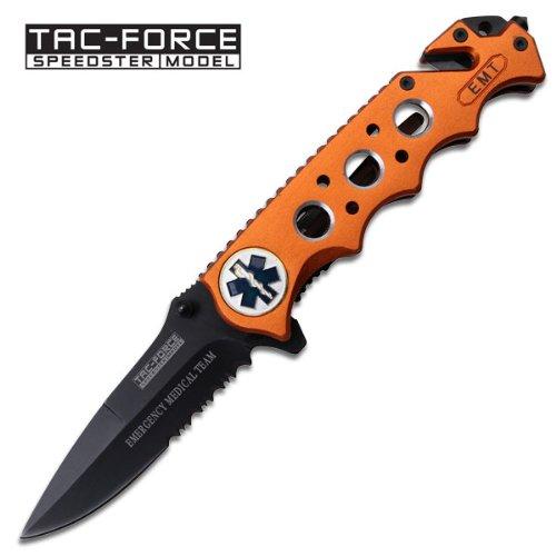 Tac Force Speedster EMT Assisted Open Pocket Knife Rescue Tool w/ Glass Breaker and Seatbelt Cutter, Outdoor Stuffs