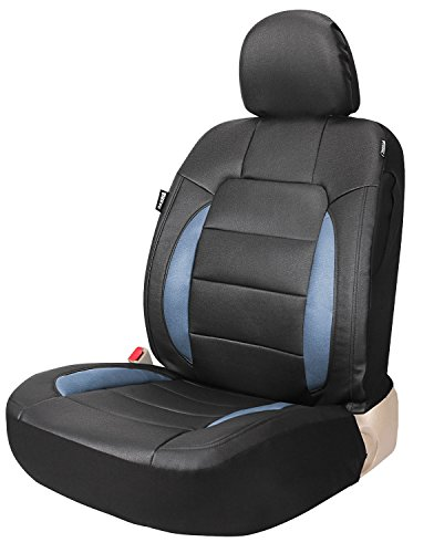 Leader Accessories Platinum Vinyl Black/Blue Single Leather Seat Cover for Car Front Bucket Seat with Airbag and Back Pocket Universal Fits Truck suv