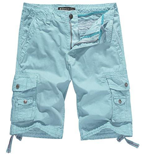 WenVen Men's Cotton Twill Cargo Short Outdoor Wear Lightweight(No.4 SkyBlue,44)
