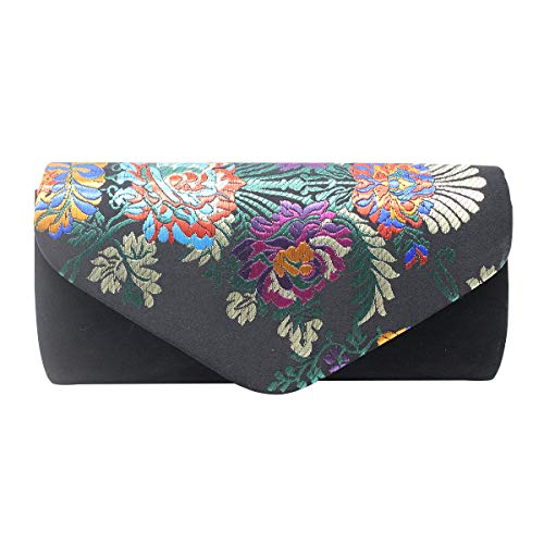 Aimer Women Flower Embroidered Silklike Black Clutch Evening Bag Ethnic Party -