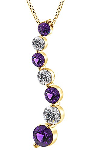 AFFY Simulated Amethyst & White Natural Diamond Journey Pendant Necklace in 14k Solid Yellow Gold (0.1 Cttw)
