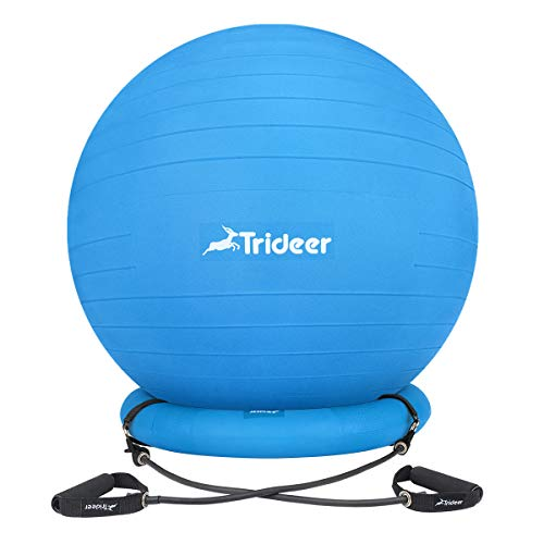 Trideer Ball Chair, Exercise Stability Yoga Ball with Base & Resistance Bands for Home and Office Desk, Flexible Ball Seat with Pump, Improves Balance, Core Strength & Posture (Dark Blue, 65cm) by Trideer (Image #9)
