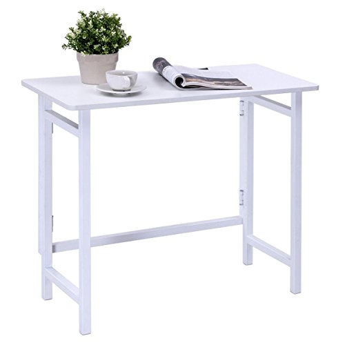 TANGKULA Folding Table Modern Simple Computer Desk Home Office Laptop PC Workstation Compact Study Writing Table for Small Space, White by TANGKULA