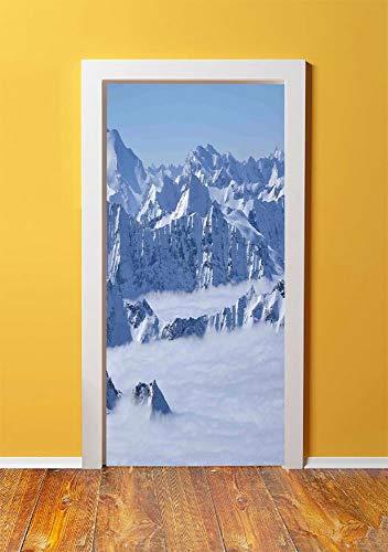 Farmhouse Decor 3D Door Sticker Wall Decals Mural Wallpaper,Fantasy Dream Land over Austrian Alps Summit Climate Skiing Snowfall Fir Theme,DIY Art Home Decor Poster Decoration 30.3x78.9078,White