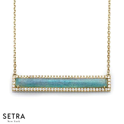 (SETRA 18k Gold Labradorite & Diamond Bar Necklace (0.25 cttw, Color G-H, Clarity SI1-SI2))