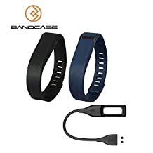 Bandcase Set Large L 1pc Navy Blue 1pc Black 1pc Replacement Bands with Clasps and a Charge Cable for Fitbit Flex Only No Tracker/ Wireless Activity Bracelet Sport Wristband Fit Bit Flex Bracelet Sport Arm Band Armband
