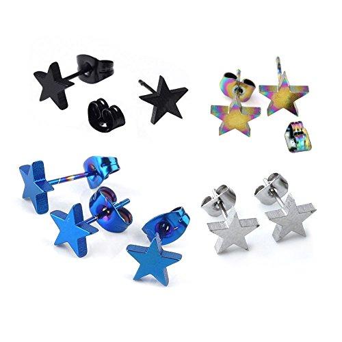 JOVIVI Women Men Stainless Steel Star Earring,Blue,Silver,Black,Rainbow, 4 Pairs