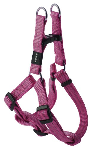 Reflective Adjustable Dog Step in Harness for Medium Dogs; matching collar and leash available, Pink