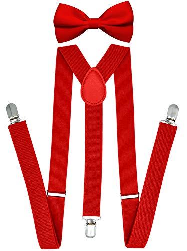 Trilece Suspenders and Bowtie Set for Men Women Adults - Adjustable Elastic Y Back Style Suspender Bow Tie -