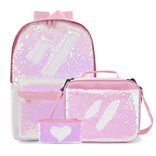 Flip Sequin School Backpack with Sparkly Lunch Box Glitter Pencil Holder for Girls (Set-Pink) -