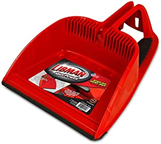 """product image for Libman Commercial 2125 Step-On Dust Pan, Polypropylene, 12"""" Wide, Red and Black (Pack of 4)"""