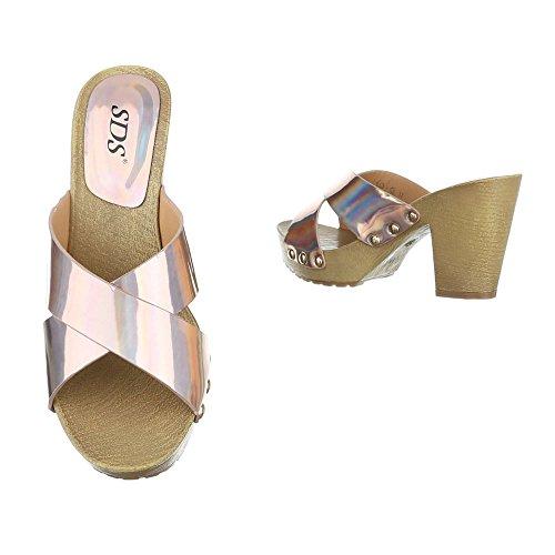 Ital-Design - zapatillas de baile (jazz y contemporáneo) Mujer champán