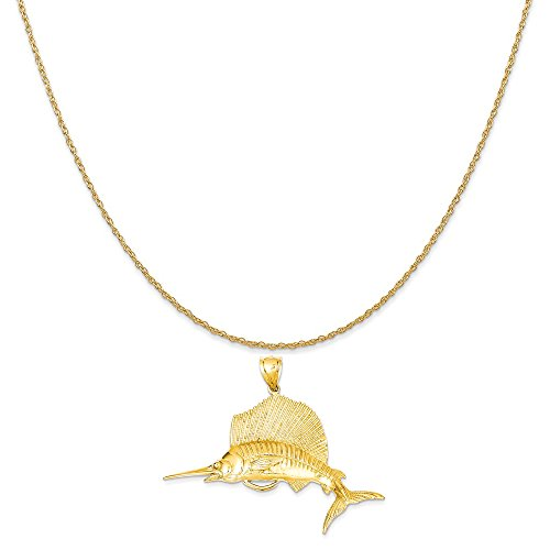 old Sailfish Pendant on a 14K Yellow Gold Rope Chain Necklace, 16