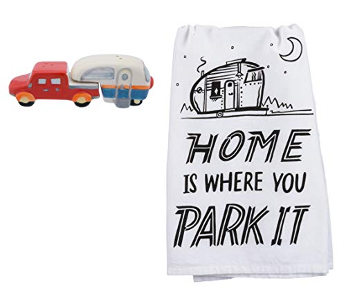 Truck and Camper Salt and Pepper Shakers with Camping Kitchen Towel Bundle