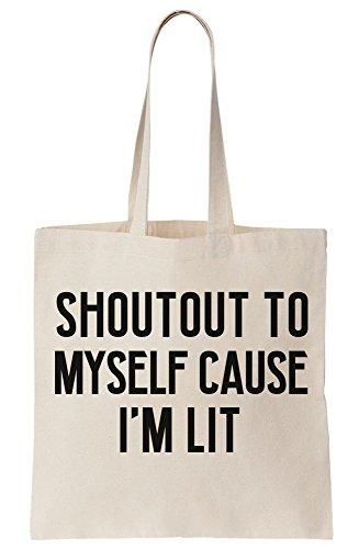 Shout I'm Myself Out Canvas Lit Tote Because Bag To qrqvZg1