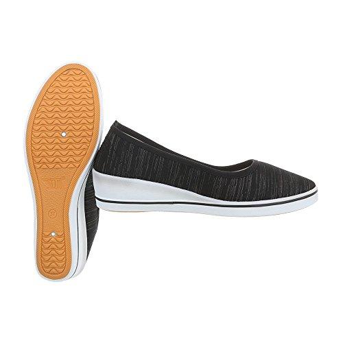Ital-Design Women's Loafer Flats Wedge Heel Slippers Black Zy1709 W92gTwC1