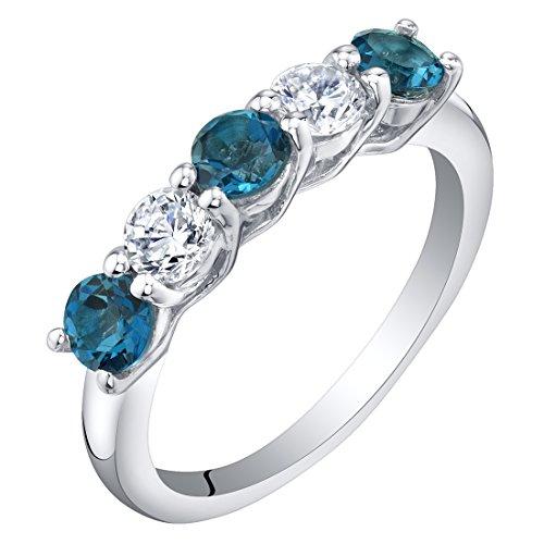 (Sterling Silver London Blue Topaz Five-Stone Trellis Ring Band Size 7)