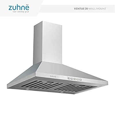 Zuhne Ventus 30 inch Kitchen Wall Mount Ducted/Ductless Stainless Steel Range Hood or Stove Vent