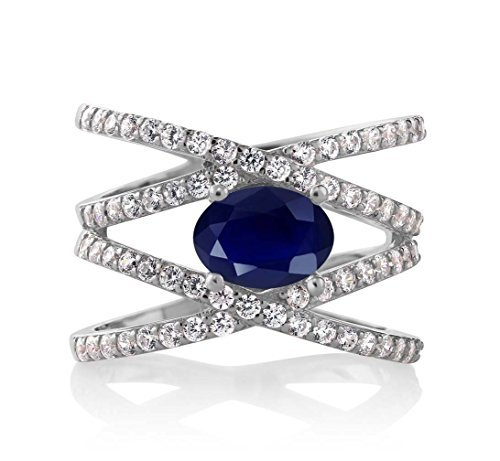 (Gem Stone King Blue Sapphire 925 Sterling Silver Women's Criss Cross Ring 2.72 Ctw Oval Gemstone Birthstone (Size 9))