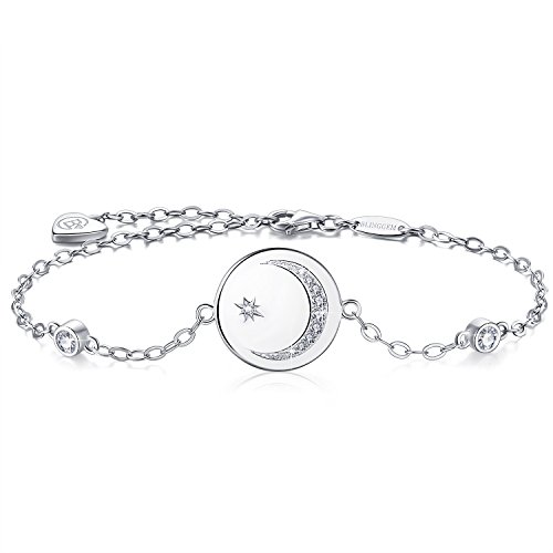 BlingGem White Gold-Plated Sterling Silver Cubic Zirconia Crescent Moon and Star Bracelet for Women