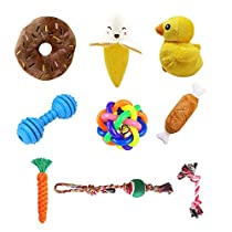 PRAVETTE Dog Toys Set Squeak Toys - Rope Teething Toys - Plush Dog Toys - Chewing Ropes Toys - Rubber Bone - Toss Ball - 9 Pack Dog Toys for Small Medium DogPets