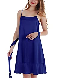 Yulee Women's Satin Chemise Embroidery Nightgown Ruffle Hem Sleepwear S-XXL
