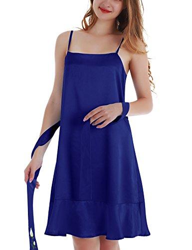 Ruffled Silk Camisole (Yulee Women's Satin Cami Nightgown with Ruffle Hem Plus Size Dark Blue, XXL)