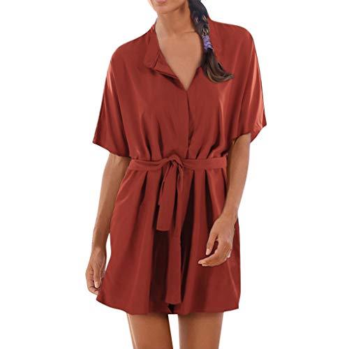 Sagton T-Shirt Dresses for Women Boho Solid V-Neck Short Sleeve Long Ruffled Party Dress with Belt Dress (Orange,XL)