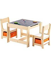 CO-Z Multipurpose Kids Desk and Chair Set with Toy Storage, 3 in 1 Activity Table w 2 Chairs, Double Sided Tabletop & Drawers for Toddlers & Small Children for Arts and Crafts, Playing, Drawing, More