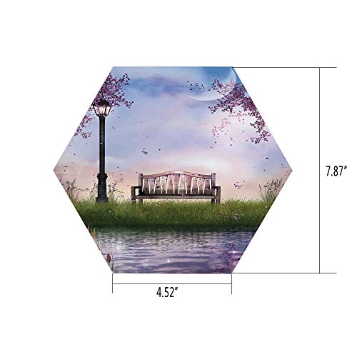 iPrint Hexagon Wall Sticker,Mural Decal,Lake House Decor,Bench on Flowing River with Lightpost Crescent Moon Lavender Trees and Grass Illustration,Multi,for Home Decor 4.52x7.87 10 Pcs/Set