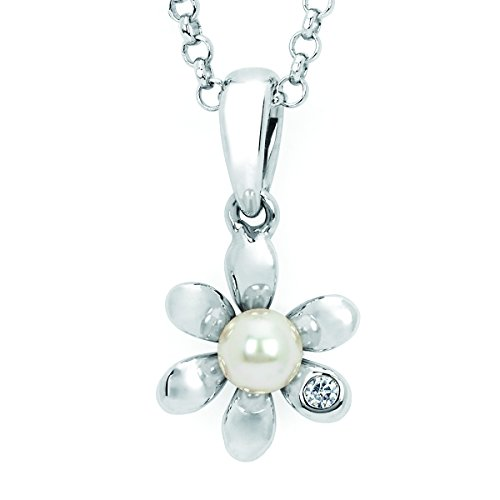 Pearl Diamond Flower Necklace - Little Diva Diamonds 925 Sterling Silver .01 Ctw Diamond Accent & Pearl Flower Pendant Necklace with 16