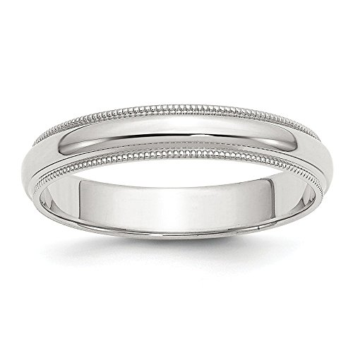 Sterling Silver Solid Polished Half Round Engravable 4mm Milgrain Band - Size 7