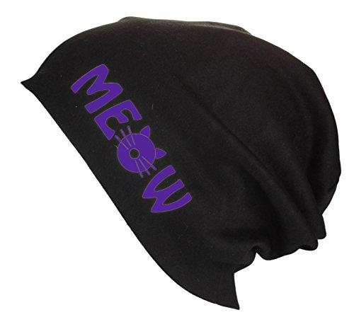 Gorro Beanie Jersey largo con letras Meow testa de gato / Gorro de verano Mujer Hombre en varios colores Purple