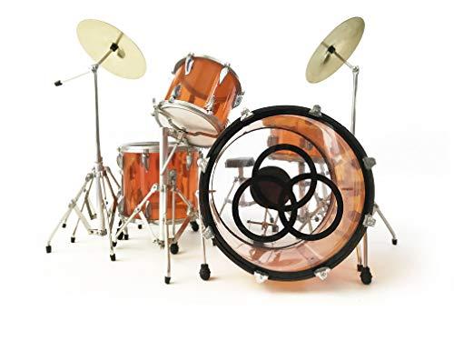 FanMerch Drum Kit Led Zeppelin, John Bonham, Tribute Vistalite Transparent Amber Mini Drum Set Replica Collectible (Best Led Zeppelin Tribute Band)