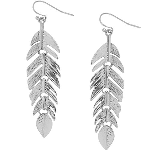 Humble Chic Floating Feathers Dangle Earrings - Long Hanging Metal Link Leaf Drops, Silver-Tone (Feather Earrings Silver)