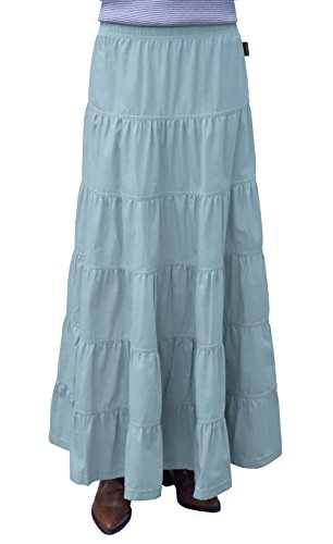 Baby'O Women's Ankle Length 6 Tiered Long Denim Prairie Skirt (Extra Large, Light Blue) - Denim Lightweight Skirt