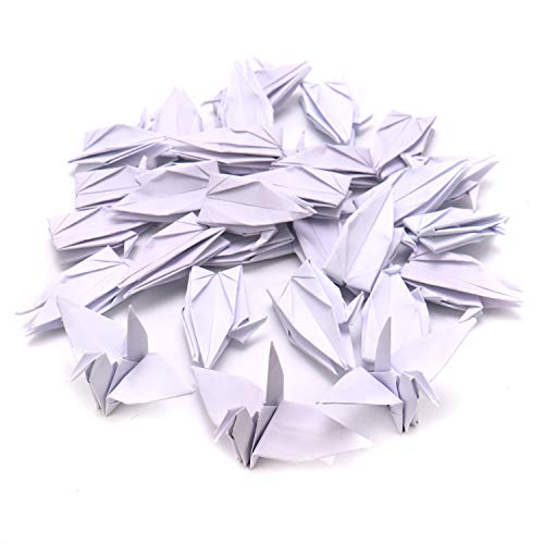 JETEHO 100 PCS White Origami Paper Cranes, Folded DIY Crane Mobile String Garland Hanging Bird Ornaments for Wedding Party Backdrop Home Decoration