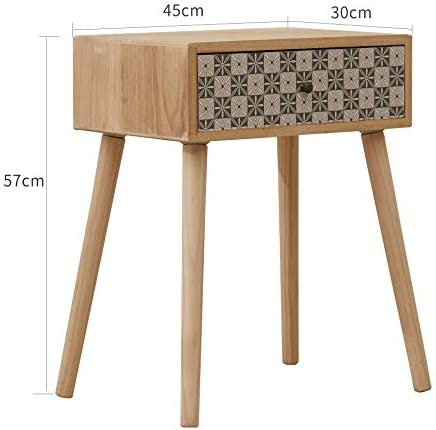 Rebecca Mobili Couch Table Chest of Drawers 1 Drawer Wood Light Braun Grey Modern Style Living Room - 56 x 45 x 30 cm (H x W x D) - Art. RE6117